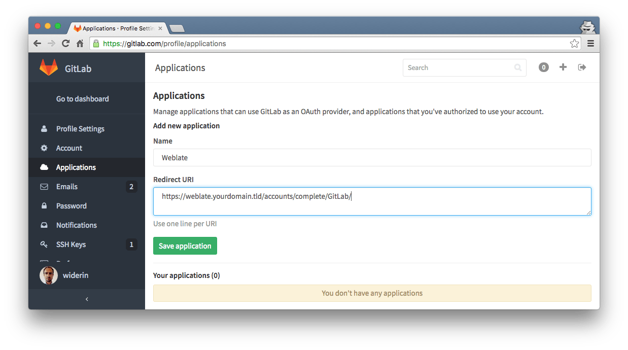 Weblate with GitLab as OAuth provider — widerin net